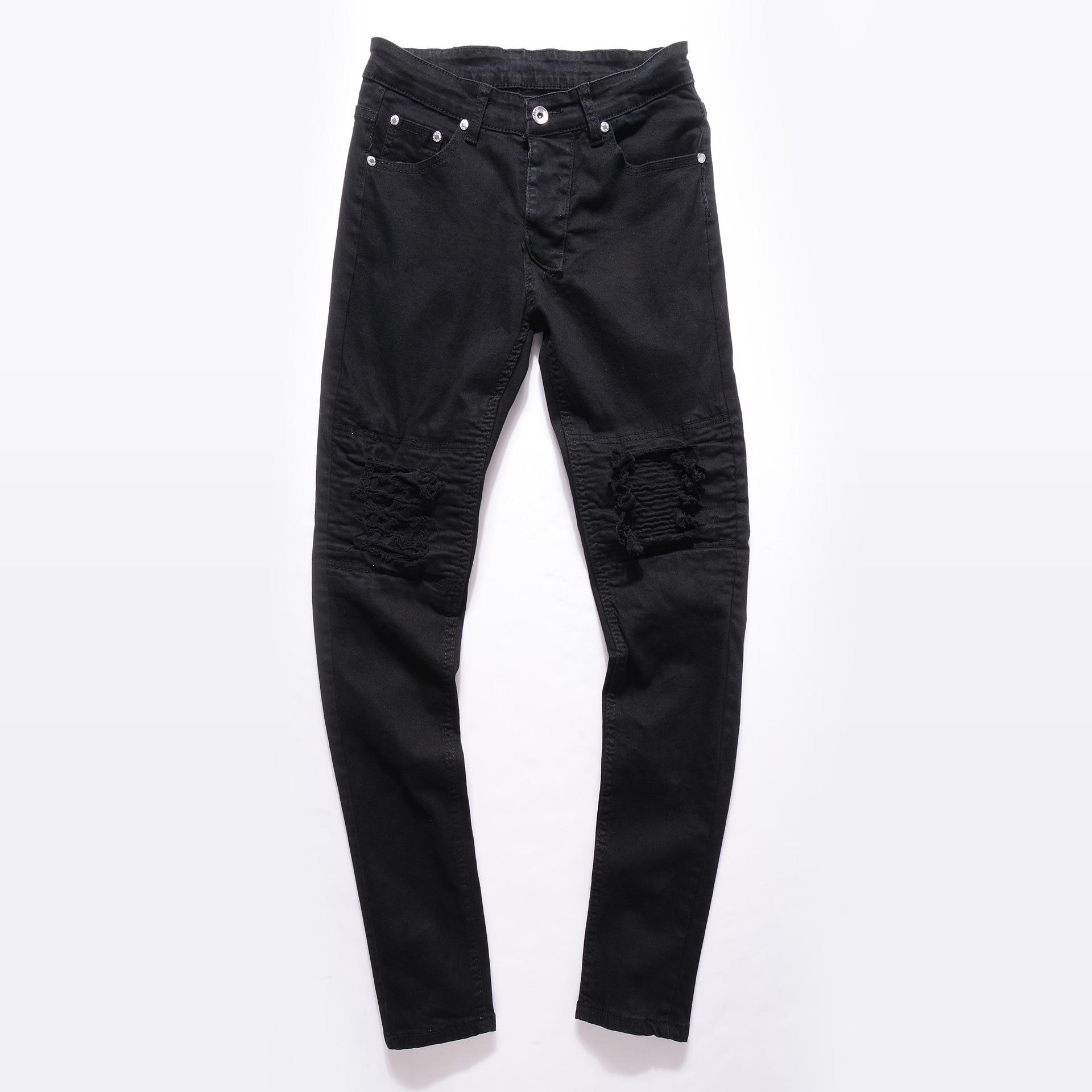 Новые брендовые дизайнерские зауженные рваные джинсы для мужчин, рваные потертые джинсы с эффектом потертости