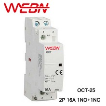 OCT Series AC Household Contactor 230V 50/60Hz 2P 16A 1NO+1NC One Normal Open and Close Contact Din Rail
