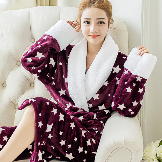7473cac58a Women Flannel Pajamas Sleepwear Couples Coral Fleece Bathrobe Nightgown  Winter Warm Kimono Dressing Women Gown Robes