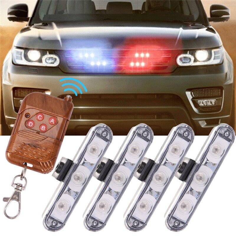 LED Wireless Remote 4x3led Ambulance Police Light DC 12V Strobe Warning Day Light For Car Emergency Light Flasher Fog Lights цена и фото