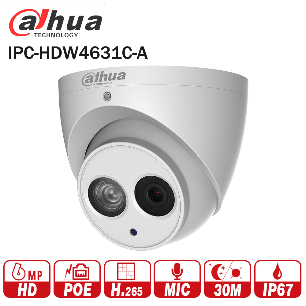 DaHua 6MP IP Camera IPC-HDW4631C-A upgrade from IPC-HDW4431C-A POE Network Mini Dome Camera With Built-in MIC CCTV Camera Metal