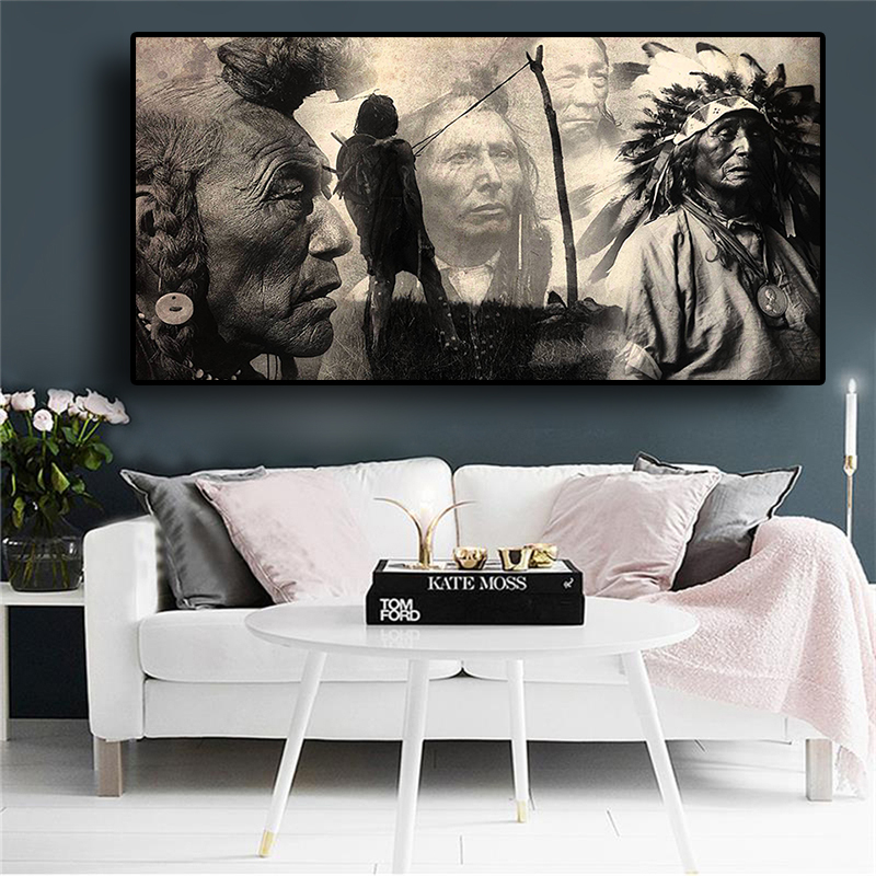 Black and White Native Indian Painting Posters and Prints Portrait Canvas Art Scandinavian Wall Picture for Living Room(China)