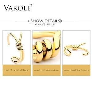 Image 5 - VAROLE Bracelet de manchette avec nœud, élégant, couleur or, bijoux, vente en gros, Bracelets pour femme