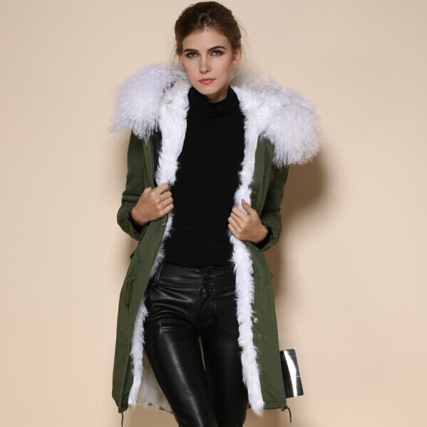 New Fashion Warm Women Slim Long Lamb Wool Fur Jacket White Fur ...