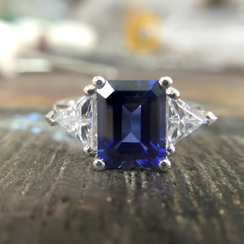 ring sapphires pin radiant green cut of moissanite sapphire rings with