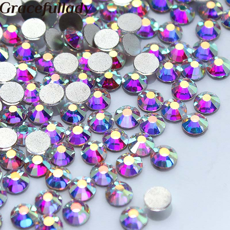 Wholesale 14400 pcs / packs, crystal AB Non hot fix rhinestones, nail art rhinestone