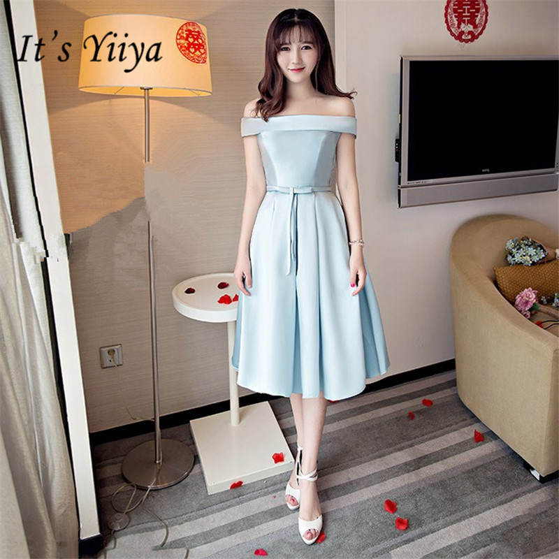 It's YiiY New Simple Blue Boat Neck   Bridesmaid     Dresses   Fashion A-line Party Frocks QH007