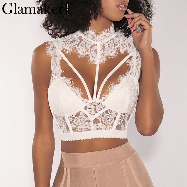 eee340bd8a7fd Glamaker Hollow out bandage cami lace top Women backless sexy crop top  Female turtleneck winter party