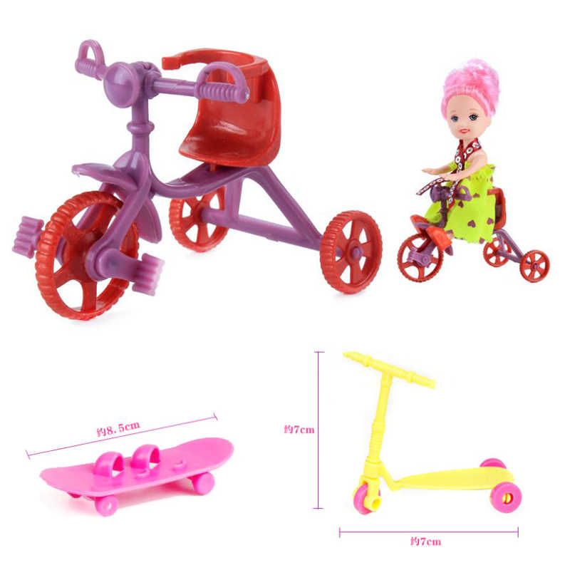 3pcs for barbie scooter car Bicycles Bikes Mini Toy for Barbie Accessories Girls Birthday Gifts Doll Accessories Fits for Kelly