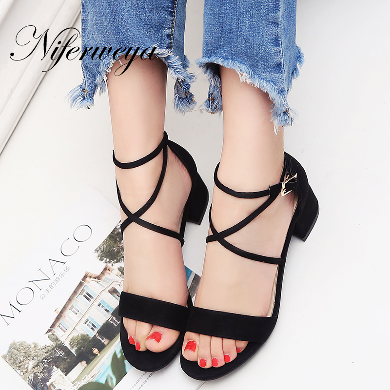 Big size 31-47 summer Ankle Strap thick heel high heels Sexy Peep Toe women shoes fashion Buckle Strap Sandals zapatos mujer lady elegant sexy big size 4 17rhinestone peep toe pu buckle strap thin high heels women shoes pumps sandals girls summer style