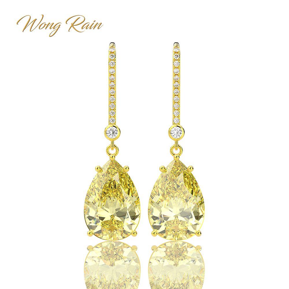 Wong Rain 925 Sterling Silver Citrine Gemstone Drop Dangle Diamonds Yellow Gold Anniversary Earrings Fine Jewelry Gift Wholesale