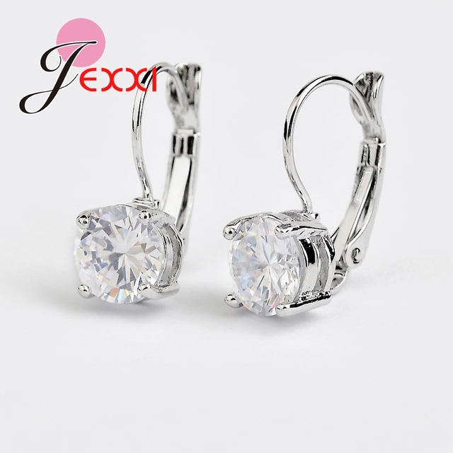 Hot Sale 925 Sterling Sliver Fashion Jewelry Shining Micro Clear Crystal Silver Clip Earrings For Women Party Factory Price