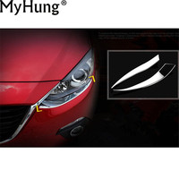 Front Headlight Eyebrow Cover Decoration Paillette Fit For MAZDA 3 AXELA 2014 ABS Chrome 2pcs Per