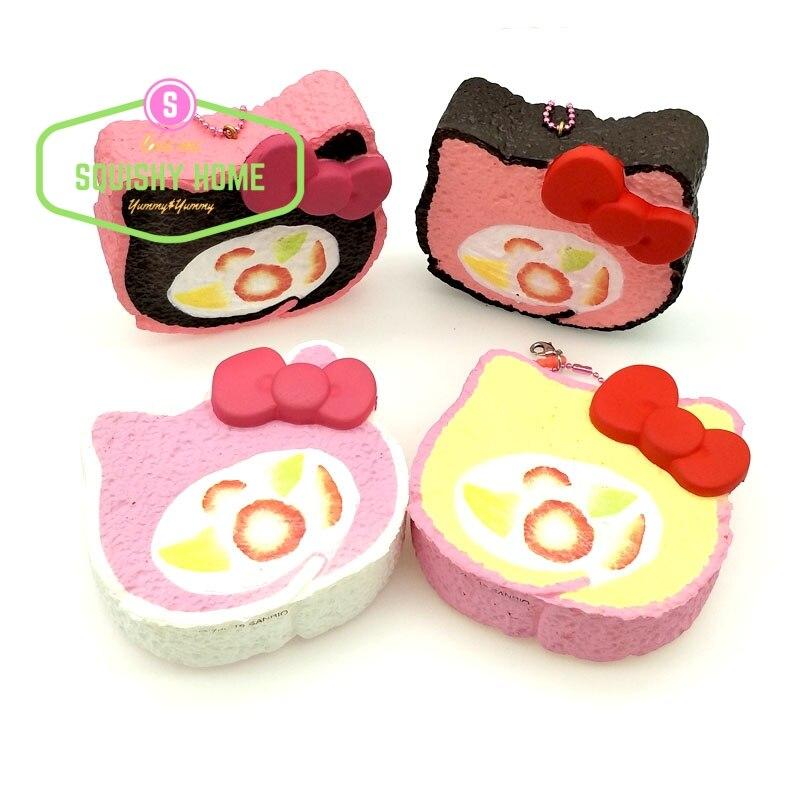 Kuutti Squishy 30 pcs Authentic Jumbo Cat Slow Rise Squishy Soft Roll Cake Bread Cute Kawaii