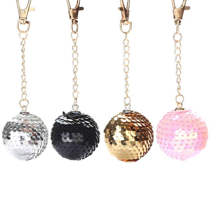 Glitter Sequins Ball Pendant Key Chain Gifts For Women Car Bag Key Holder Keychain Jewelry Accessories