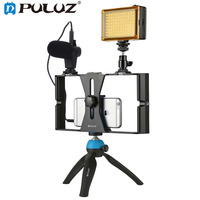PULUZ Smartphone Video Rig LED Studio Light Video Microphone Mini Tripod Mount Kit w/ Cold Shoe Tripod Head for iPhone cellphone