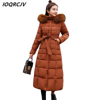 Thicker Big Fur Collar Winter Jacket Women 2018 New Womens Down Jackets Hooded Long Female Outwear Parkas Down Cotton Padded S72