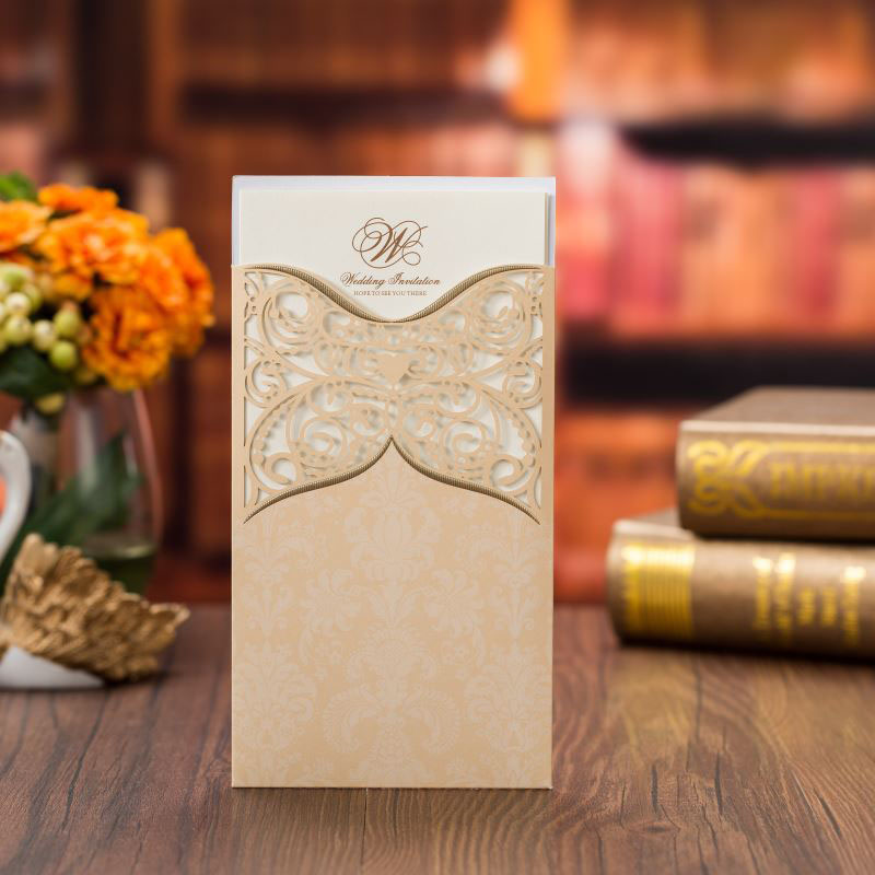Us 0 63 36 Off 1pcs Sample Gold Laser Cut Wedding Invitations Card Lace Flower Greeting Card Customize Envelopes Wedding Party Favor Decoration In