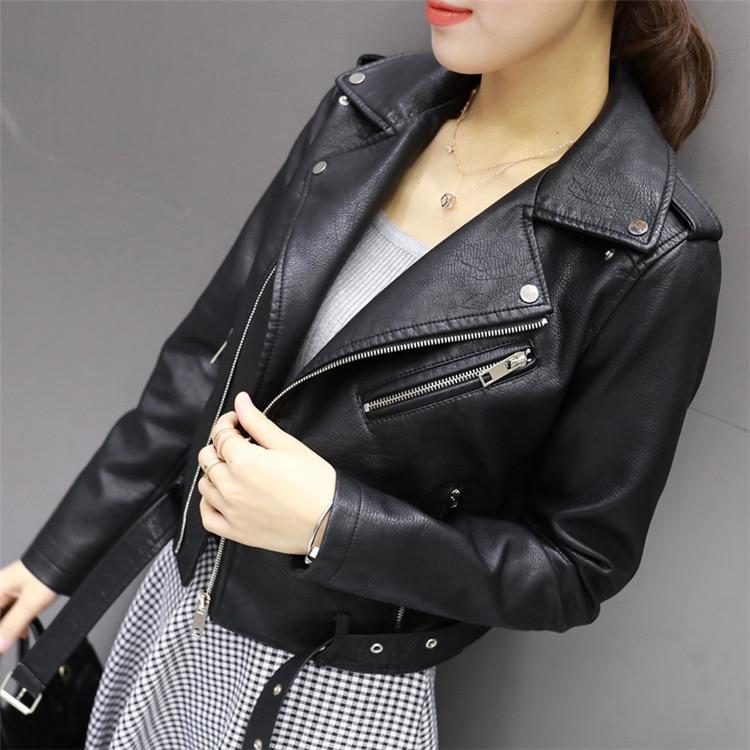 HTB1k0bZg8mWBuNkSndVq6AsApXaS Aelegantmis Autumn New Short Faux Soft Leather Jacket Women Fashion Zipper Motorcycle PU Leather Jacket Ladies Basic Street Coat