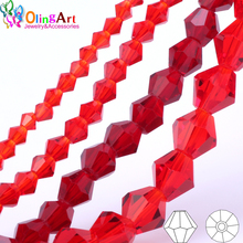 OlingArt 3mm/4mm/6mm/8mm Bicone Upscale Austrian Multicolored crystal Red color beads Loose bead bracelet DIY Jewelry Making
