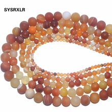 Wholesale Dull Polish Orange Banded Agat Natural Stone Round Beads For Jewelry Making DIY Necklaces Bracelets 4 6 8 10 12 MM