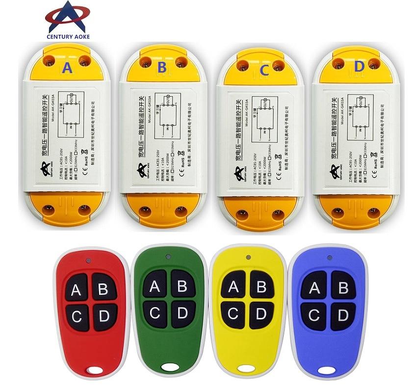 AC220V 110V 85-240V 1CH 10A RF Wireless Remote Control Switch System 4 transmitter & 4 receiver Smart Home Switch 12pcs rf wireless 220v 10a 1ch remote control switch 4 receiver