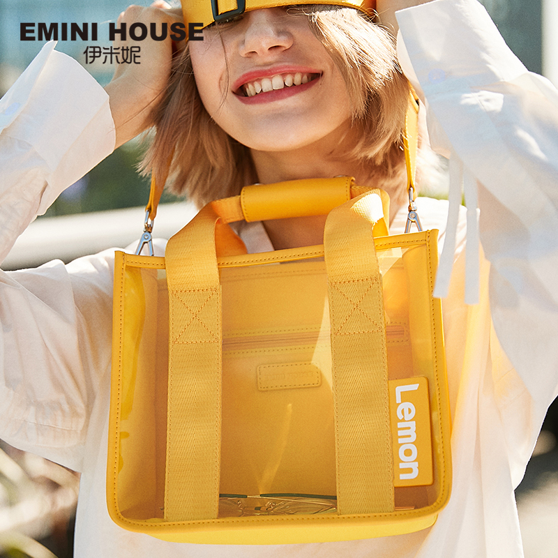 EMINI HOUSE PVC bolsa de mano transparente con letras de frutas bolso de hombro bolsos bandolera para mujer bolsos de lujo Bolsos De Mujer de diseñador-in Cubos from Maletas y bolsas    1