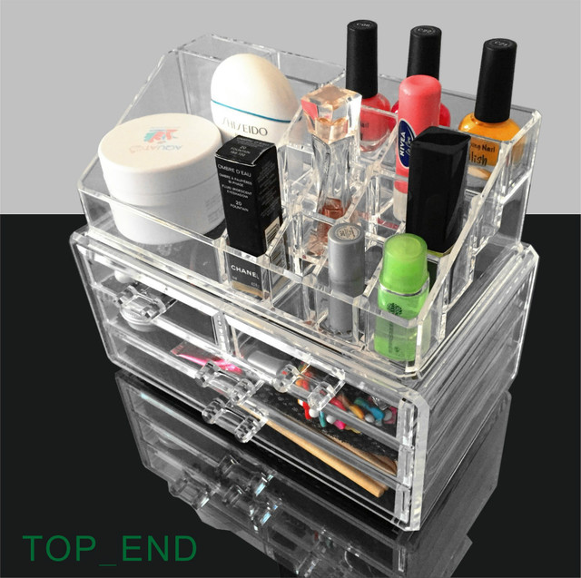 Crystal Clear,Large Size,Acrylic Cosmetics Organizer,16 Compartments Rack U0026  4 Drawers