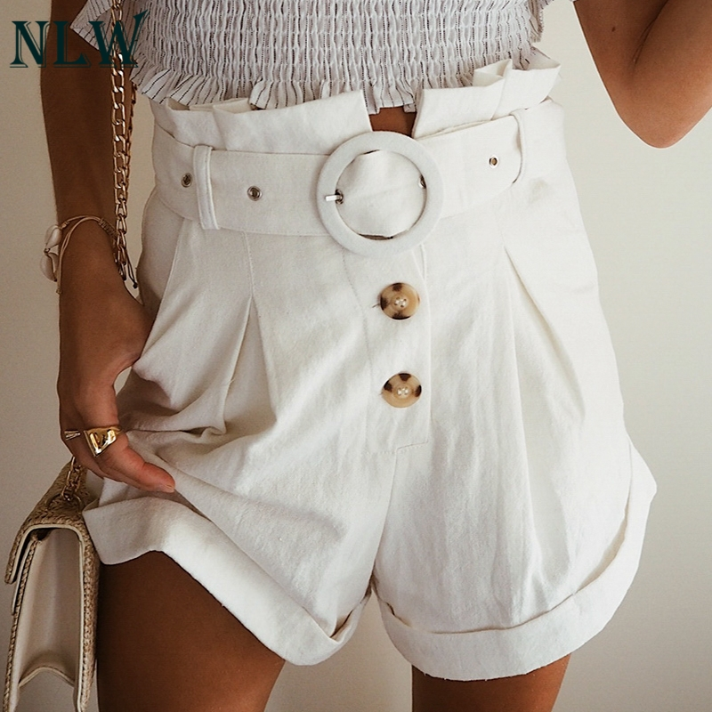 NLW Casual Solid White High Waist Ruffle Women   Shorts   Button High Fashion Female   Shorts   Summer Cotton Belt   Shorts