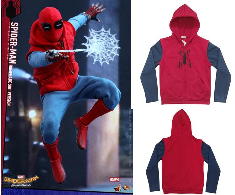 SpiderMan coat Homecoming Jacket Unisex tops Cosplay Coat Hoodies Spiderman Peter Parker Hoodie Zipper Men's Costume tops