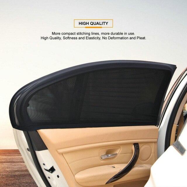 2 sztuk czarny Auto okno pokrywa samochodów pojazdu drzwi okno ochrona przed promieniowaniem UV słońce siatka zacieniająca materiał osłona przeciwsłoneczna osłona przeciwsłoneczna uniwersalny