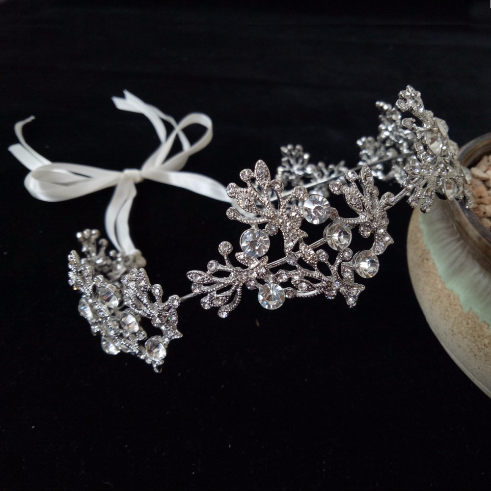 Silver Clear Crystal Leaves and Flower Bridal Tiara Bride Crown Women Prom Headpiece Wedding Bridal Hair Jewelry Accessories