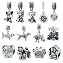Wholesale 100 Pieces /lot Animal Pet Lovely Dog Charms Fit Pandora Charm Beads Bracelet For Women Jewelry Making SPP217
