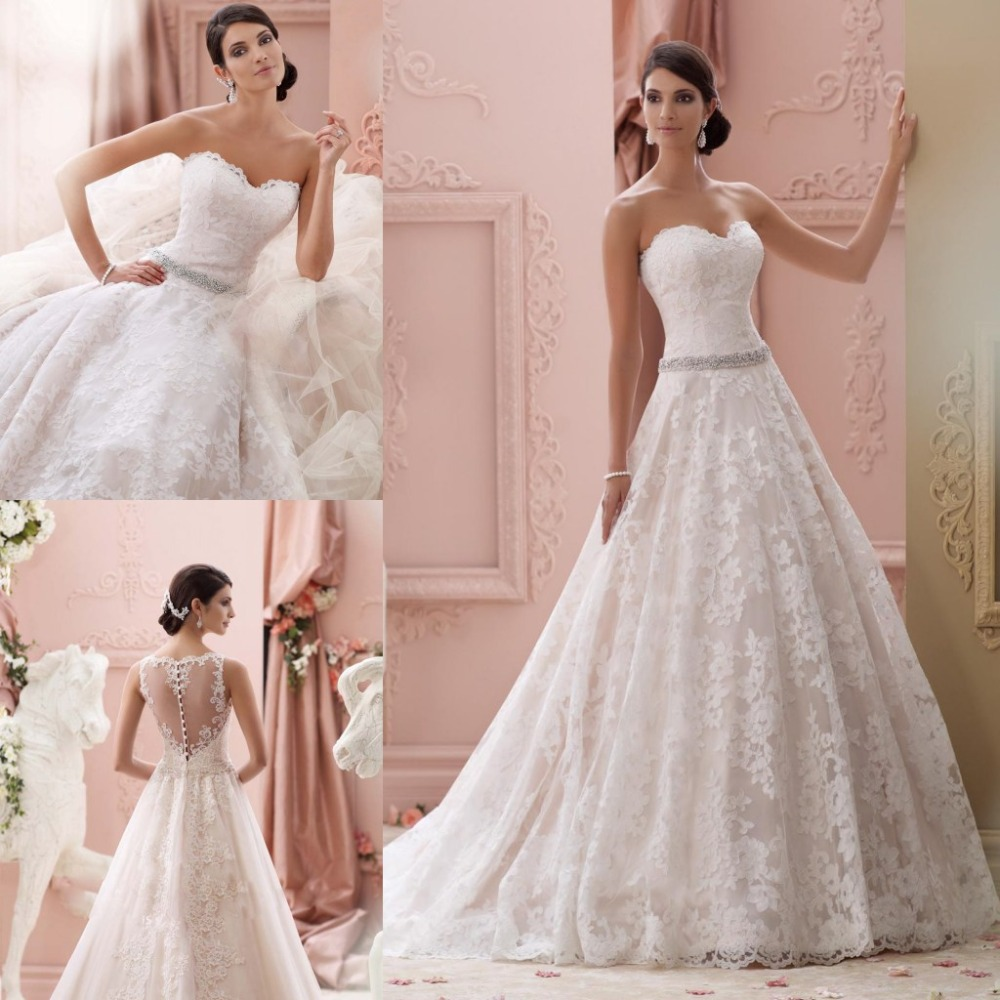 Vintage Beaded Lace A Line Wedding Dresses 2015 Formal Sweetheart