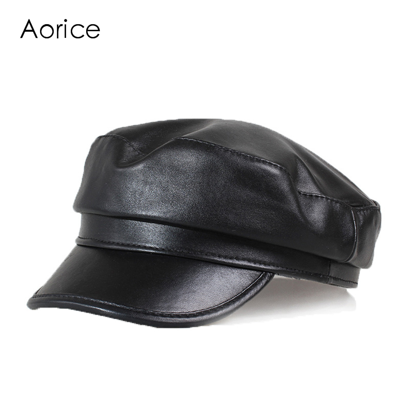 Aorice Winter Genuine Leather Men Baseball Cap Hat CBD High Quality Men's Real Sheep Skin Leather Adult Solid Hats Caps HL151-B aorice genuine leather baseball cap men hats and caps solid color brown black leather leisure fashion travel biker hl187