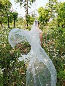 Image 3 - Pente branco com borda cortada 2m, véu de noiva longo com pérolas brancas para casamento véu