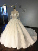 High Quality Long Sleeve Lace Appliqued Puffy Ball Gown Vestidos De Casamento Dress Luxury Wedding Dresses