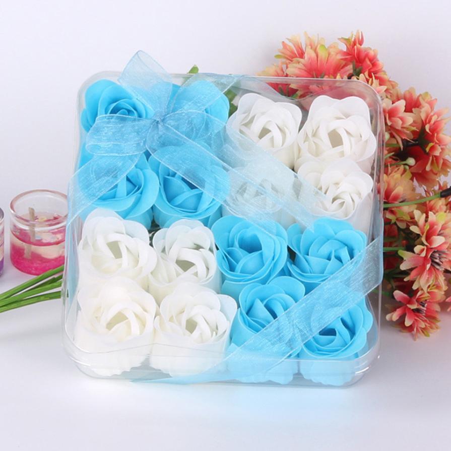 Rose-Flower-Soap Wedding-Decoration Gift Bath 16pcs-Heart-Scented Body-Petal Q10