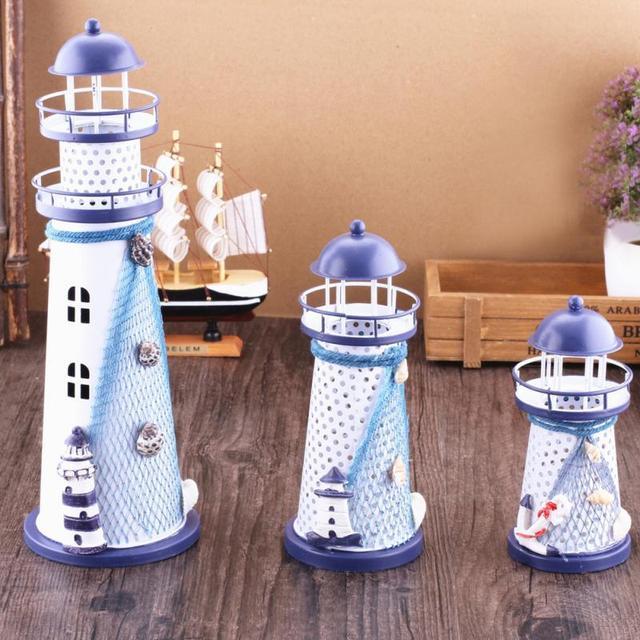 DIY 3 Sizes Iron Lighthouse Crafts Fashion Flash Ocean Craft Home Decor  Accessories Desktop Ornaments