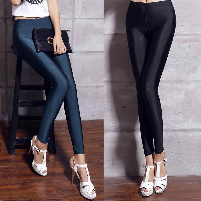 Spandex Legging Plus Ukuran Hitam Putih Wanita Legging Warna Shiny Lycra Neon Spandex Legging Pinggang Tinggi Peregangan Kurus Mengkilap Aliexpress