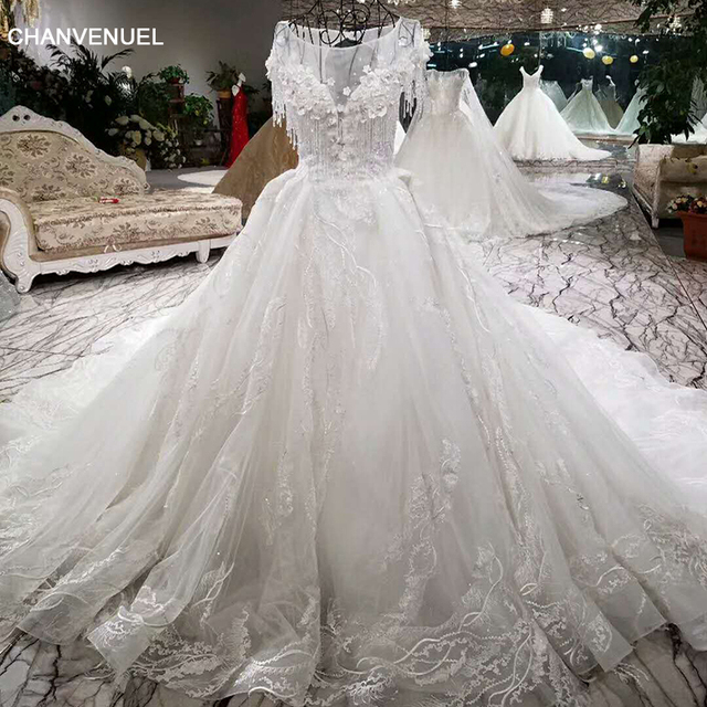 LSS004 Luxury wedding dress beading ball gown lace up short sleeve ...