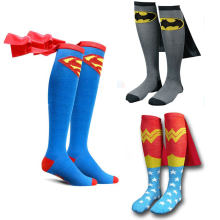 Cute Cosplay Socks Super Hero Supermen Batmen Adulto Unisex Cotton Knee High Sport Calcetines