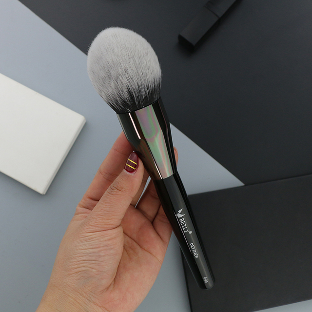BEILI Black Big Powder Blush Definer soft Synthetic Hair Makeup Brushes Foundation Highlighter Fan Brush Eye Shadow Cruelty Free 3