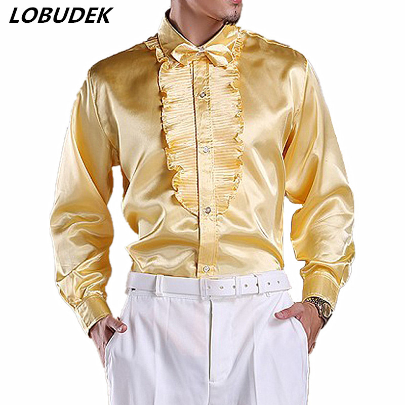 Multiple Colors Men Tuxedo Shirts Dance Performance Shirt Formal Male Singer Chorus Stage Long Sleeve Shirts Party Show Costume
