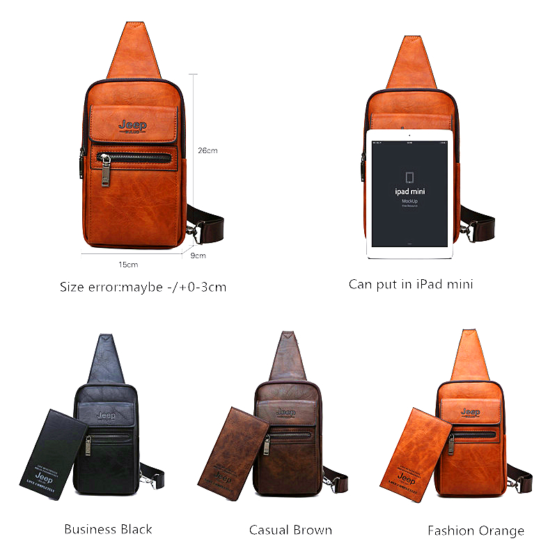 Image 2 - JEEP BULUO High Quality Men Chest Bags Split Leather Large Size Shoulder Crossbody Bag For Young Man Famous Brand Sling Bags-in Waist Packs from Luggage & Bags