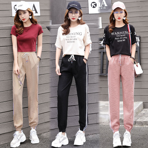 Casual Ankle Length Pants Women 39 s Spring Summer Casual Trousers Pencil Casual Pants Striped Women 39 s Trousers Harem Pants in Pants amp Capris from Women 39 s Clothing