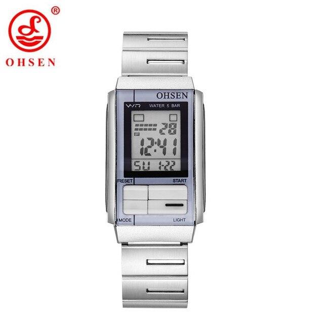 c237c340804 Marca Original Moda OHSEN Nova Chegada Mulheres Relógio Digital LCD À Prova  D  Água Relógio