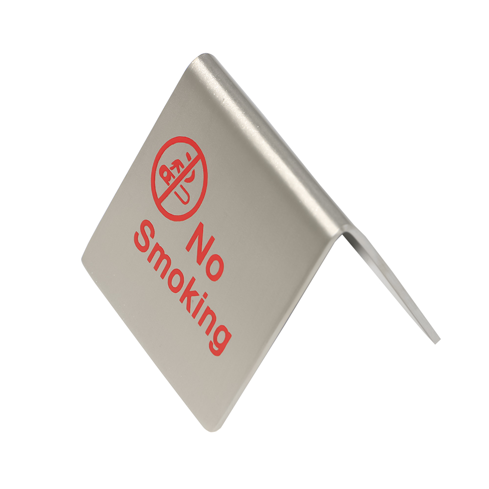 20 pcs stainless steel stringy metal desk table desktop no smoking warning sign stand sign plate desktop  sign plaques-in Plaques & Signs from Home & Garden    1