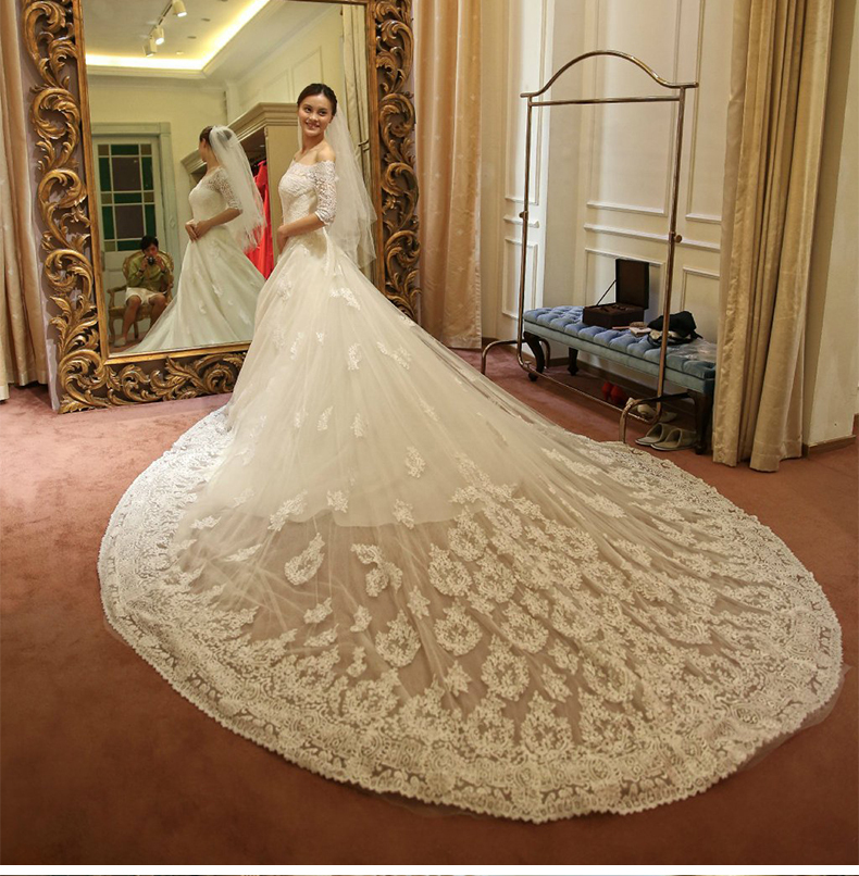 Dhg129 vestido de novia low price luxury wedding dress for Wedding dress no train