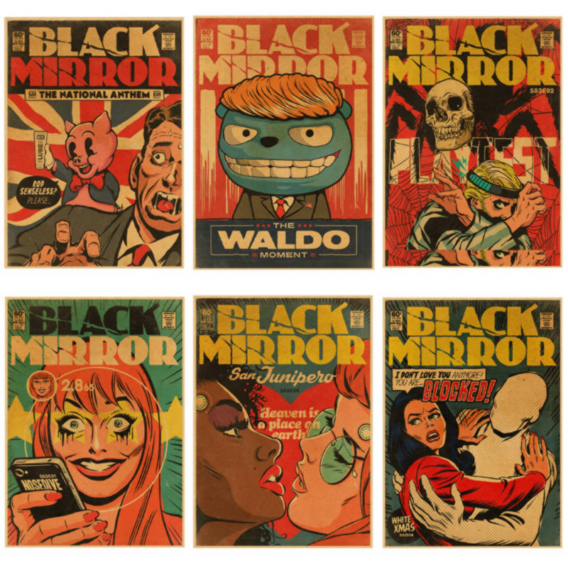 Black mirror - BBC Season 1, 2 Hot TV Show Vintage Retro Poster Decorative DIY Wall Stickers Home Posters Bar Art Decor